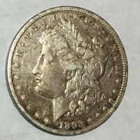 1893-CC CLEANED VF MORGAN SILVER DOLLAR. LOTUED1
