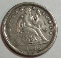 1856 VF-EXTRA FINE  SEATED LIBERTY US SILVER DIME. LARGE DATE.