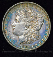 $1 ONE DOLLAR 1893 P AU UNC MORGAN DOLLAR - KEY DATE - LUSTROUS RAINBOW TONED