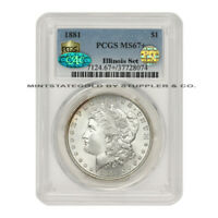 THE FINEST KNOWN 1881 $1 SILVER MORGAN DOLLAR PCGS MINT STATE 67 CAC PQ ILLINOIS SET