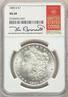1880-S US MORGAN SILVER DOLLAR $1 - NGC MINT STATE 68