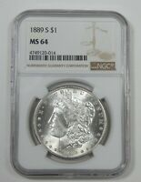 1889-S MORGAN DOLLAR CERTIFIED NGC MINT STATE 64 SILVER DOLLAR