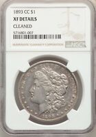 1893-CC US MORGAN SILVER DOLLAR $1 - NGC EXTRA FINE  DETAILS CLEANED