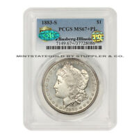 1883-S $1 SILVER MORGAN PCGS MINT STATE 67PL CAC PQ APPROVED ILLINOIS SET PROOF LIKE