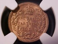 GREAT BRITAIN  MALTA  1/3 FARTHING 1913 MS 64RB NGC GEORGE V
