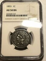1853 BRAIDED HAIR US LARGE CENT. NGC AU50 BN ONG020