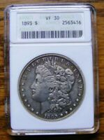 1893 $1 MORGAN SILVER DOLLAR, CERTIFIED ANACS EXTRA FINE 30 DETAILS - KEY DATE