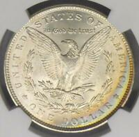 1886 NGC MINT STATE 64 MORGAN SILVER DOLLAR COIN,  BLUE REVERSE COLOR TONE