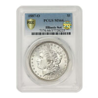 1887-O $1 SILVER MORGAN DOLLAR PCGS MINT STATE 66 PQ APPROVED WHITE GEM COIN ILLINOIS SET