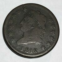 1812 CLASSIC HEAD US LARGE CENT.  VG, CRACKED PLANCHET.  LOTQ1