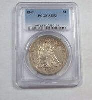 1847 LIBERTY SEATED DOLLAR CERTIFIED  PCGS  AU 53 SILVER $