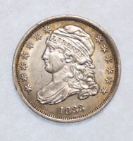 1833 CAPPED BUST DIME ALMOST UNCIRCULATED SILVER 10C