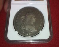 1799 $1 DRAPED BUST SILVER DOLLAR EAGLE REVERSE NGC F12