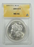 1890-CC MORGAN SILVER DOLLAR CERTIFIED ANACS MINT STATE 61   LOOKING CARSON CITY $