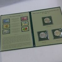 1922-P, D, & S PEACE SILVER DOLLARS AND STAMPS COLLECTION 3 COINS 6 STAMPS PCS