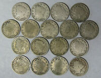 LOT OF 17 LIBERTY V NICKELS 1898-1912 CIRCULATED M.RM