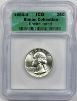 1964-D WASHINGTON QUARTER SILVER 25C BINION COLLECTION UNCIRCULATED ICG