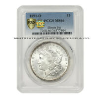 FINEST KNOWN 1891-O $1 SILVER MORGAN PCGS MINT STATE 66 PQ APPROVED ILLINOIS SET DOLLAR