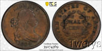 1804 DRAPED BUST HALF CENT 1/2C C 6 SPIKED CHIN PCGS XF 45