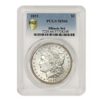 TIED FOR FINEST 1893 $1 SILVER MORGAN PCGS MINT STATE 66 ILLINOIS SET DOLLAR PHILADELPHIA