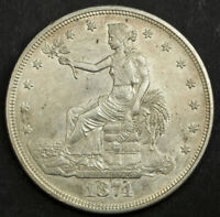 1874 UNITED STATES. LARGE SILVER TRADE DOLLAR  420 GRAINS  COIN. XF AU