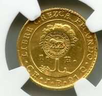 COSTA RICA 1847 CR JB GOLD 1 ESCUDO CENTRAL AMERICA NGC AU COUNTER STAMPED