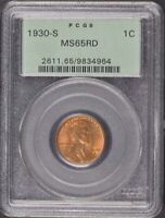 1930-S 1C LINCOLN CENT - TYPE 1 WHEAT REVERSE PCGS MINT STATE 65RD OGH
