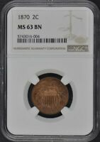 1870 TWO CENT PIECE 2C NGC MINT STATE 63BN