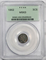 1862 3CS THREE CENT SILVER PCGS MS 63 UNCIRCULATED OGH OLD HOLDER TONED