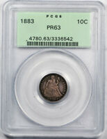 1883 10C SEATED LIBERTY DIME PCGS PR 63 PROOF OGH OLD HOLDER LOW MINTAGE