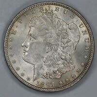 1897 MORGAN DOLLAR $1 VAM 6A PITTED REVERSE AU / BU ABOUT TO BRILLIANT UNC 7135