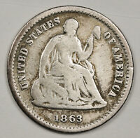 1863-S LIBERTY SEATED HALF DIME.  V.G.  146307