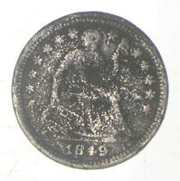 5C 1/2 DIME HALF 1849 SEATED LIBERTY HALF DIME EARLY AMERICAN TYPE COI