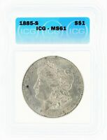 1885-S SILVER MORGAN DOLLAR ICG MINT STATE 61 S$1
