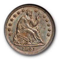1841 SEATED LIBERTY HALF DIME NGC MINT STATE 65 UNCIRCULATED TONED OLD FATTY HOLDER