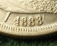 HONDURAS 1888 SILVER 1 PESO MAJOR RE PUNCHED DATE  MINT ERROR