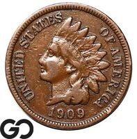 1909 S INDIAN HEAD CENT PENNY AVIDLY PURSUED LOW MINTAGE KEY
