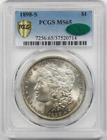 1898-S MORGAN DOLLAR SILVER $1 MINT STATE 65 PCGS SECURE SHIELD CAC APPROVED