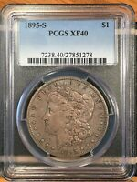 1895-S MORGAN SILVER DOLLAR - PCGS EXTRA FINE 40 - HIGH QUALITY SCANS 1278