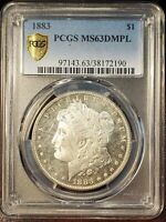 1883 $1 MORGAN DOLLAR DEEP MIRROR PROOF LIFE PCGS MINT STATE 63DMPL  COIN