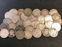 HUGE LOT OF CANADIAN STERLING SILVER  5 CENTS COINS VICTORIA