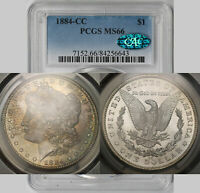 1884-CC MORGAN DOLLAR SILVER $1 MINT STATE 66 PCGS CAC APPROVED TONED