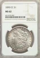 1890-CC US MORGAN SILVER DOLLAR $1 - NGC MINT STATE 62