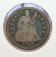 1852 SEATED LIBERTY DIME SILVER 10  CHOICE TONED GOOD  ID CT339