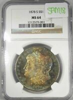 1879-S SILVER MORGAN DOLLAR NGC MINT STATE 64 SEMI-PL WILD END-OF-ROLL TONE SAM18