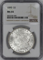 1890 MORGAN SILVER DOLLAR $1 NGC CERTIFIED MINT STATE 64 MINT STATE UNCIRCULATED 009