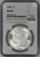 1890 MORGAN SILVER DOLLAR $1 NGC CERTIFIED MINT STATE 64 MINT STATE UNCIRCULATED 020