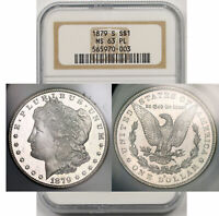 1879-S MORGAN DOLLAR SILVER $1 MINT STATE 63 PL PROOF LIKE NGC