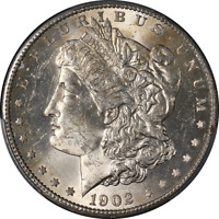 1902-S MORGAN SILVER DOLLAR PCGS MINT STATE 63  EYE APPEAL  LUSTER  STRIKE