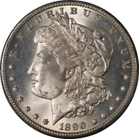 1890-CC MORGAN SILVER DOLLAR PCGS MINT STATE 63 BRIGHT WHITE GREAT EYE APPEAL